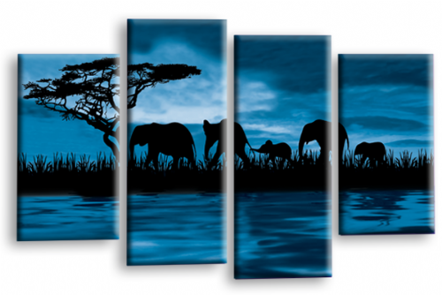 Sunset Elephant Canvas Wall Art Picture Blue Brown Cream